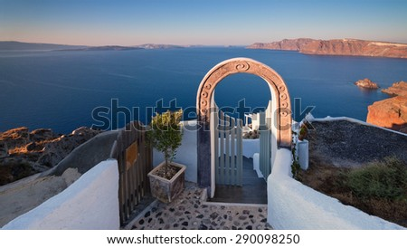 The door to paradise, Oia, island Santorini, pearl of the Mediterranean Sea, Cyclades, Greece