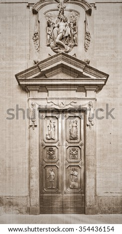 The door to the old-style province in Italy. Old style. Sepia - stock photo
