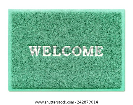 The doormat of welcome text on white background - stock photo