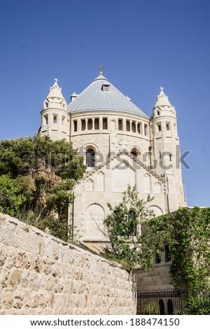 The Dormition Abbey, Mount Zion, Jerusalem, Israel - stock photo