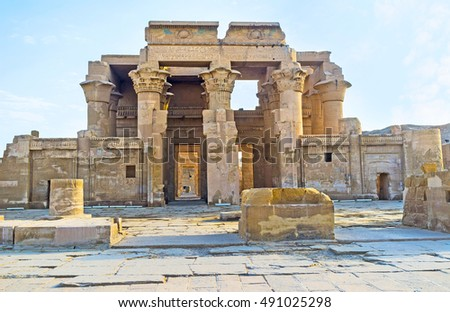 The double entrance to the ancient Kom Ombo Temple, dedicated to Gods Sobek and Horus, Egypt.
