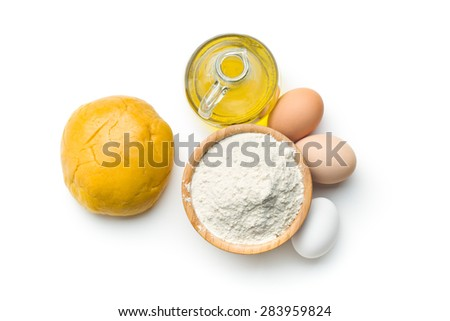 the dough and ingredients for preparing pasta - stock photo