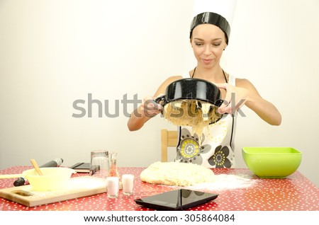 The dough in the pan - stock photo