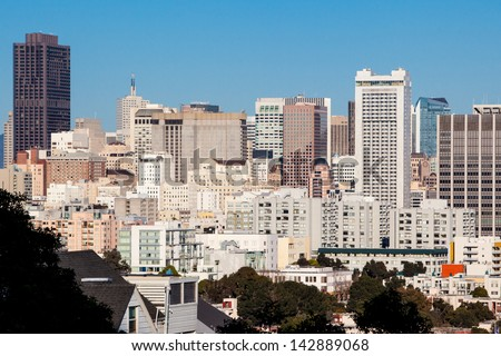 The Downtown area of San Francisco from Twin Peaks at sunset. In California, USA - stock photo