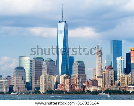 The downtown New York City skyline - stock photo