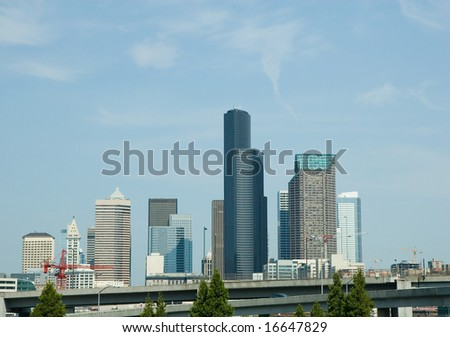 The downtown skyline of Seattle and blue sky