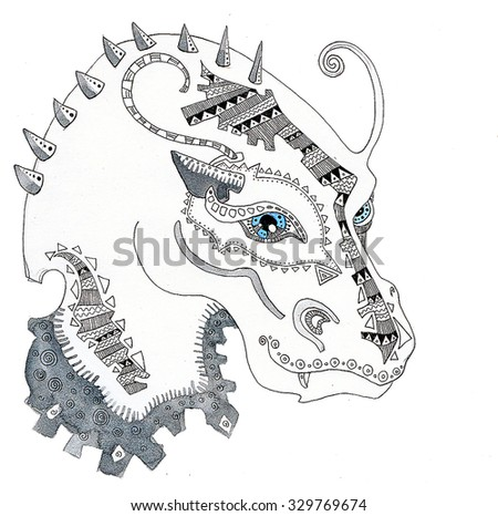 the dragon of the china horoscope of the year hand drawing outline ethnic style isolated on the white background - stock photo