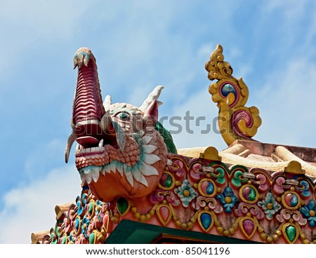 The dragon on the roof of the Tengboche Monastery, Nepal - stock photo