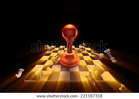 The dramatic art of chess composition. Artistic dark background. Use shine (glow) effects. 3D-image.  - stock photo