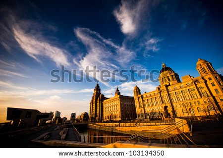 The Dramatic Liverpool Skyline in the warm evening light - stock photo