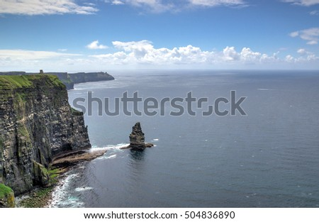 The dramatic sheer cliffs of Moher on the west coast of Ireland