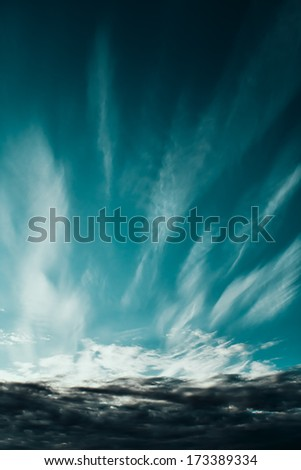 The dramatic sky clouds scene. - stock photo