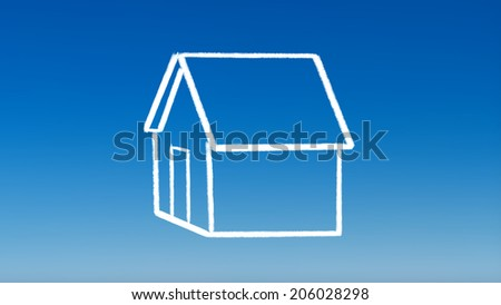 the drawing of house outline for investment concept with blue sky background - stock photo