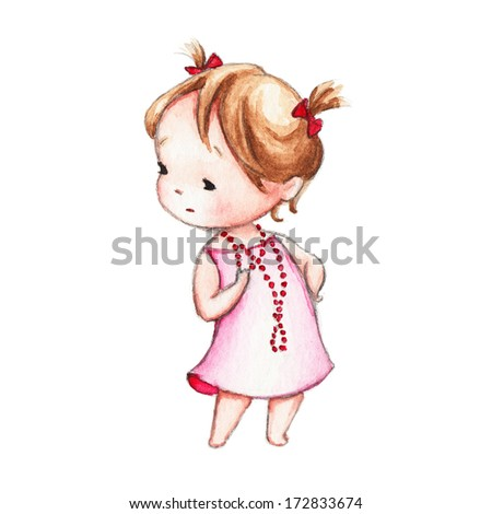 The Drawing of Little Girl in Red Beads - stock photo