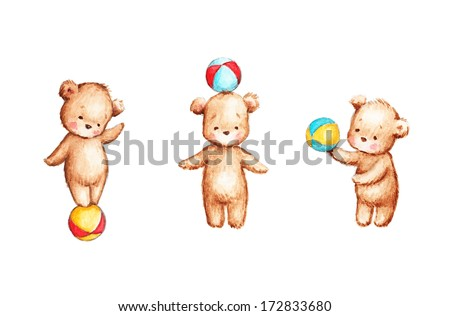 The drawing of Three Teddy Bears with Colorful Balls - stock photo