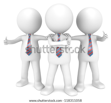 The Dream Team. 3D little human character the Business Man x3 in a Confident pose. Red and Blue Tie. People series.