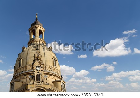 The Dresden Frauenkirche ( literally Church of Our Lady) is a Lutheran church in Dresden, Germany  - stock photo