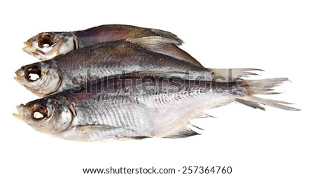 the dried fish is isolated on a white background - stock photo