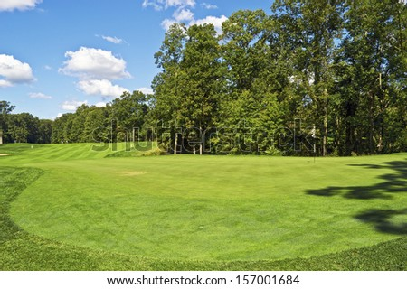 The driving range at a public golf course, part of the Monmouth County Parks system in New Jersey.