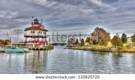 The Drum point Lighthouse on the Chesapeake Bay in Maryland - stock photo