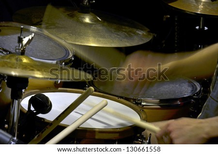The drummer in studio - stock photo