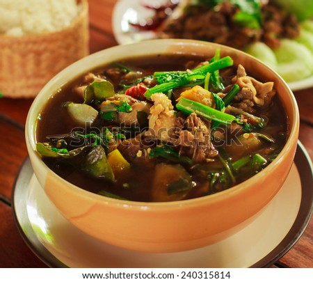 The duck stewed in the gravy sauce ready for sale in Thailand - stock photo