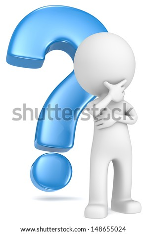 The Dude in a classic pose in front of blue question mark.  - stock photo