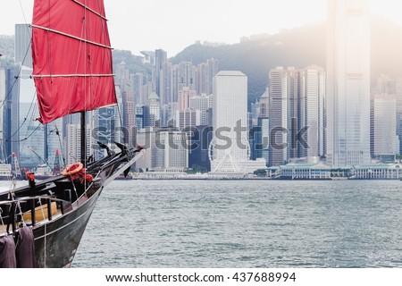 The Duk Ling , Chinese junk ship at Victoria Harbour , Hong Kong. - stock photo