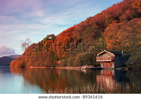 The Duke of Portland boathouse.  The boathouse is an iconic landmark on the banks of Ullswater, Cumbria in the English Lake District.  The photograph was taken on 28th October 2011. - stock photo