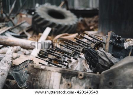 The dump trucks parts, engine block. Selective focus - stock photo