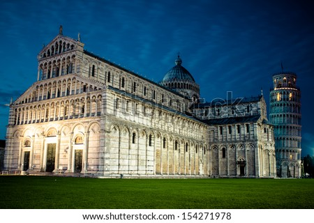 The Duomo and the Leaning Tower of Pisa, Cathedral Square in Pisa, Italy. - stock photo