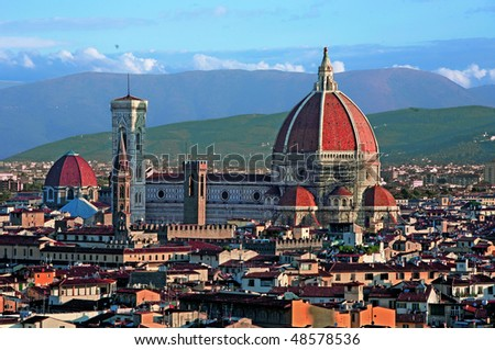 The Duomo cathedral in Florence Italy. The Basilica di Santa Maria del Fiore is the cathedral church (Duomo) of Florence, Italy,. - stock photo