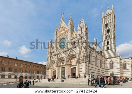 The Duomo of Siena in Tuscany, Italy. - stock photo