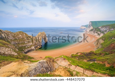 The Durdle Door rock arch on the Dorset Coast in Southern England.  - stock photo
