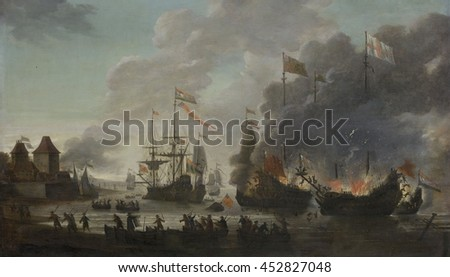 The Dutch Burn English Ships during the Expedition to Chatham, June 20, 1667 (Raid on the Medway), by Jan van Leyden, 1667-69, Dutch painting, oil on panel. The Dutch navy sailed deep up the River Me