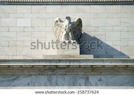 The eagle statue at Federal Reserve Building, Washington DC, USA.    - stock photo