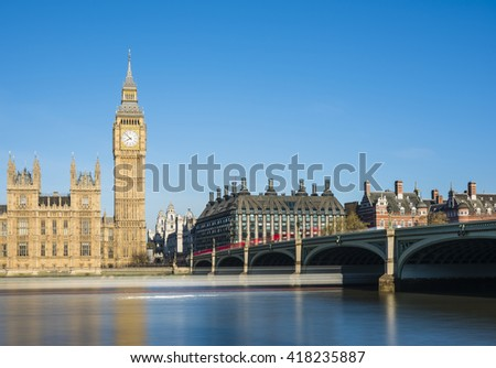 The early morning light captured on Westminster Bridge and Big Ben, London, UK.
