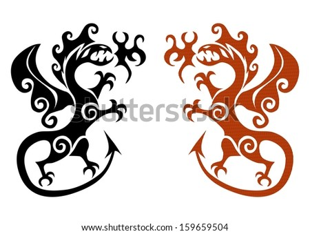 The early viking tattoo in the form a dragon on a white background. - stock photo