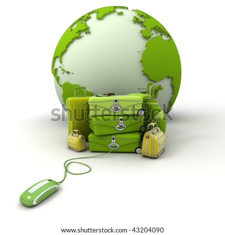 The Earth, a pile of luggage including suitcases, briefcases, golf bag, connected to a computer mouse in green and yellow shades