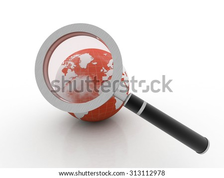 The Earth analyzed under a magnifying glass - stock photo
