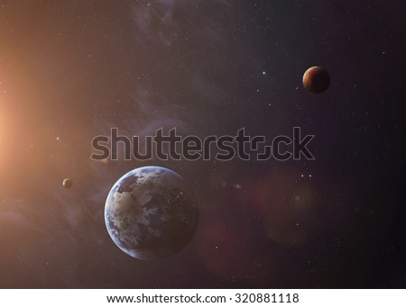 The Earth and Mars from space showing all they beauty. Extremely detailed image, including elements furnished by NASA. Other orientations and planets available. - stock photo