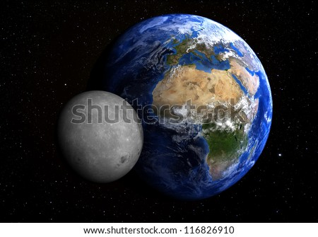 The Earth and the Moon with stars in the background. Extremely detailed. Elements of this image furnished by NASA. - stock photo