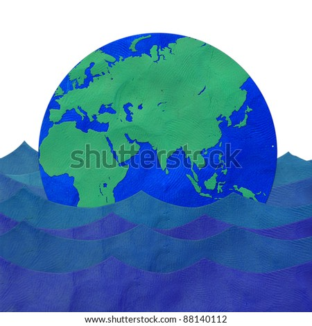 The earth floating