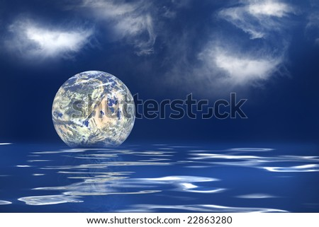 The earth floating in an ocean to symbolize the melting of the polar ice caps