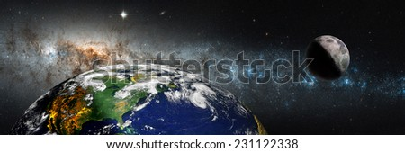 "The Earth from space against milky way.""Elements of this image furnished by NASA  - stock photo"