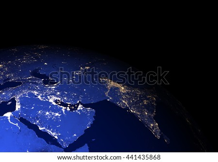 The Earth from space at night without clouds. Elements of this image furnished by NASA. Other orientations available. - stock photo