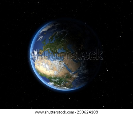 The Earth from space. Europe. Elements of this image furnished by NASA   - stock photo
