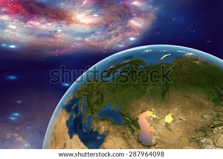The Earth from space on the background with stars and galaxies showing Western Europe, Eastern Europe, Southern Europe on globe in the day time; elements of this image furnished by NASA - stock photo
