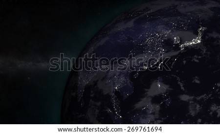 The Earth from space showing Asia - (Extremely detailed map furnished by NASA.) - stock photo