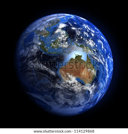 The Earth from space showing Australia and Indonesia. Extremely detailed image including elements furnished by NASA. Other orientations available. - stock photo